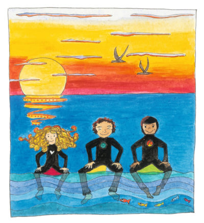 Illustration from page 16 of Sally sitting on her surfboard at sunset