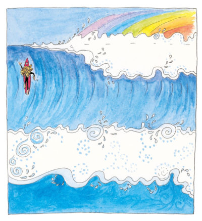 Illustration from page 12 of Sally paddling over a steep wave with a rainbow in the seaspray