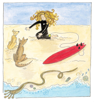 Illustration from page 5 of Sally asking her dogs to sit and stay while she goes surfing