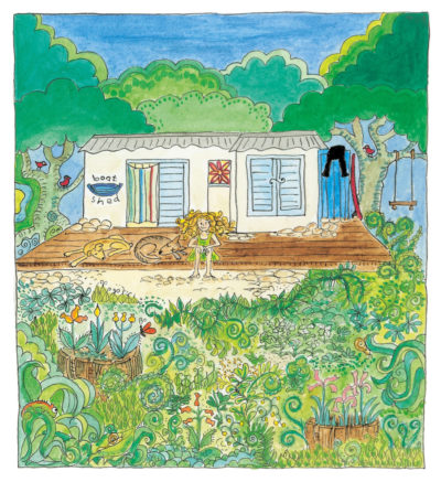Illustration from page 1 of Sally in her boatshed with her two salty dogs