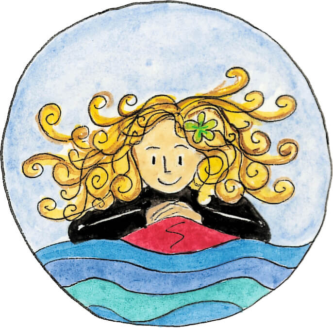 Surfing Sally children's book character icon